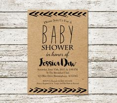Tribal Baby Shower Invitation Kraft Paper by SweetTeaAndACactus