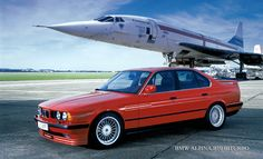 BMW 5 Series derived Alpina Biturbo - once the fastest production sedan in the world - with a Concorde prototype wallpaper/ background for iPad mini/ air/ 2 / pro/ laptop Lamborghini, Bugatti, Ferrari, Bmw E34, Bmw Alpina, Concorde, Ford Mustang, Carros Bmw, Automobile