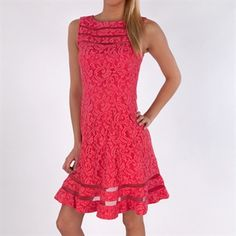 Adrianna Papell Lace Dress with Illusion Border #VonMaur #AdriannaPapell #Pink #Sleeveless