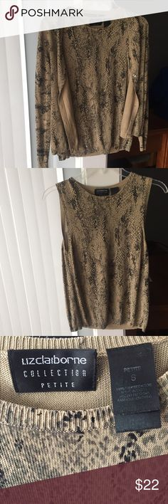 Petite tunic & cardigan !! ❤️ this beautiful two piece is almost too perfect for year round. This tan black snake skin design will go well with black/brown slacks or even dark jeans to dress down. Like brand new!!❤️ Liz Claiborne Tops Tunics