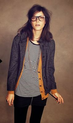 Cute stripes and cardigan fashion style. . . click on pic for more