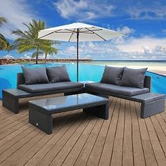 Outdoor Wicker Rattan Set Patio Garden Loveseat Daybed Cushioned Furniture