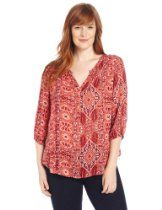 Lucky Brand Womens Plus-Size Ikat Canyon Popover Top