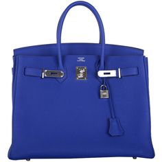 Pre-Owned Hermes 35cm Birkin Bag Blue Electric Palladium Hardware Togo ($22,200) ❤ liked on Polyvore featuring bags, handbags, purses, bolsos, blue electric, genuine leather handbags, man bag, genuine leather purse, blue leather purse and handbags purses