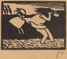 Vallotton, Félix | Swiss, 1865 - 1925 Bathers Caught in a Storm (Les baigneuses surprises par l'orage) 1893 | woodcut in black on brown wove paper