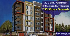 """Are you looking for flats in #Manikonda? You are at right place, a luxurious residential project offering #2bhk flats for sale with all modern amenities. Size Range: 1112-1210 Sq.ft Prize Range: 35.58Lacs to 38.72Lacs For more details click on http://www.homesulike.com/index.php/projects/viewdetails/Fortune-Homes Call us 040-66666616 for site visit. """"Hit like and share if you are interested in this property."""""""