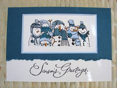 Holiday Lineup - Stampin UpStamps: Holiday Lineup, Many Merry Messages Paper: Whisper White, Not Quite Navy, Bashful Blue Ink: Black StazOn, Pumpkin Pie, Bashful Blue, Not Quite Navy Accessories: Tearing Edge ruler, glitter