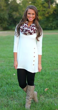The Pink Lily Boutique - Ivory Side Button Tunic, $32.50 (http://www.thepinklilyboutique.com/ivory-side-button-tunic/)