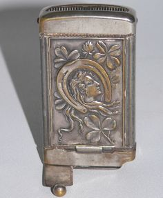 Antique silverplate Lucky Horse Shoe Stag Lady case match safe cigar cutter tin #unknownunmarkedAdvertising
