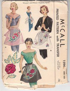 1950 McCall #1594 Organdy Apron Pattern with flower/leaf applique & transfer. by mrsdepew, etsy