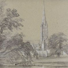 'Salisbury Cathedral' by John Constable, 1811, Museum no. 292-1888If you compare the chalk sketch of Salisbury Cathedral on the left to the final painting , you can see that Constable removed the large tree to reveal more of the cathedral itself.