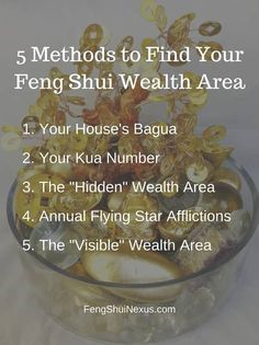 If you're looking to use Feng Shui for wealth, the FIRST thing to do is to find your Feng Shui wealth areas and corners. Here are 5 ways to find them.