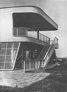 Villa Schminke (rear aspect), Lobau, Germany. Architect: Hans Scharoun, 1933.