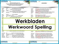 Werkbladen Werkwoord Spelling Classroom Language, Math Classroom, Speech Language Therapy, Speech And Language, School Teacher, Primary School, 6 Sigma, Learn Dutch, School Organisation