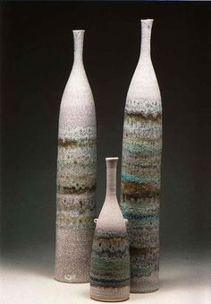 Ceramics by Jacqui Ramrayka at Studiopottery.co.uk - 2012. Bottles Group 1, height of tallest 70cm