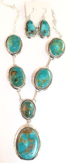 Native American Sterling Silver Navajo Kingman Turquoise Two Piece Set. Signed.