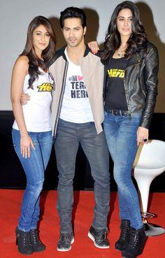 Actors Varun Dhawan, Nargis Fakhri and Ileana D'Cruz launched the trailer of their upcoming film 'Main Tera Hero'. Bollywood Couples, Bollywood Girls, Bollywood Stars, Bollywood Fashion, Indian Bollywood Actress, Beautiful Bollywood Actress, Most Beautiful Indian Actress, Indian Actresses, Indian Celebrities