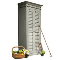 This would be awesome painted in the colors of real Bahamian shutters!   Suitable for indoor or outdoor use; 2 louvered doors, 2  adjustable interior shelves, 4 interior pull-out trays