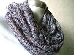 UNISEX flecked navy blue Infinity scarf knit by CheriDemeter, $23.50