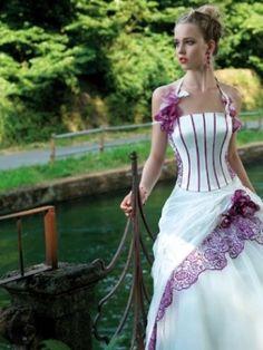 A Line Wedding Dresses Halter Brush Train White LX1vi0030