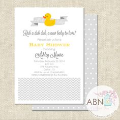 Rubber Ducky Baby Shower Invitation - Gender Neutral - Greys - DIY PRINTABLE - By A Blissful Nest on Etsy, $15.00