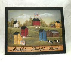 16 X 20  Gallery Wrap Canvas  Folk Art Painting  Americana Saltbox  Country RJPE #Americana #RaggedyJan