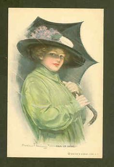 RAIN-OR-SHINE-UNDERWOOD-GLAMOUR-LADY-WITH-UMBRELLA-VIOLETS-VINTAGE-POSTCARD