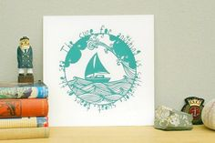 Sailing screen print boat illustration ship nautical by CraftyLou2, £30.00