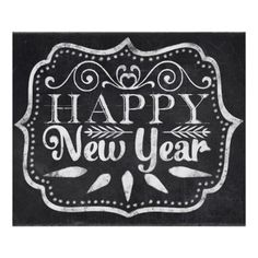 Chalkboard Happy New Year Poster #christmas #art #posters