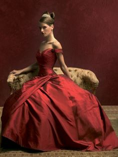 Red ball gown.