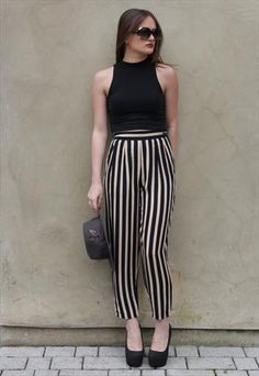 Vintage 1980's Black & Tan Pin Stripe High Waist Trousers