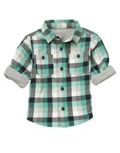 Doubly cozy! Button pocket flannel shirt lined with jersey.