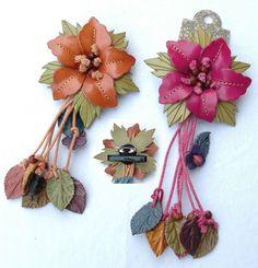 accesorios de flores en cuero para decorado de bolsos