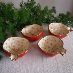 Pomegranate Ceramics - Art Modern - Lora's Page Ceramic Bisque, Ceramic Clay, Ceramic Bowls, Pottery Bowls, Ceramic Pottery, Slab Ceramics, Keramik Design, Grenade, Keramik Vase