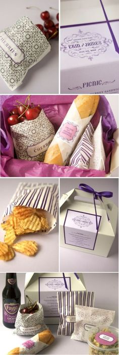 a picnic wedding reception! i wouldn't want this for my actual reception, but a great/thrifty idea for wedding party lunch, rehearsal dinner, or out-of-town picnic for picnic Picnic Box, Picnic Lunches, Picnic Ideas, Lunch Ideas, Summer Picnic, Box Lunches, Picnic Foods, Lunch Boxes, Picnic Baskets