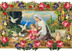 Religion Catolica, Art Thou, Hail Mary, Angels In Heaven, Victorian Christmas, Victorian Era, Old World, Blessed, Floral