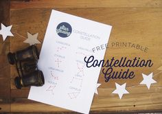Space Guide Stargazing Party: free printable constellation guide - Here we are with the last of our Star Gazing party tutorials! I really love this batch, as they're all really hands on for kids. Find this super cute free printable Star Crown