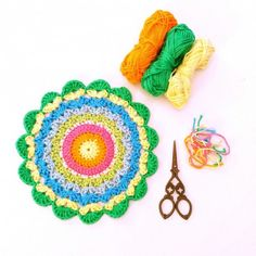#Crochet mandala free pattern from Made with Loops