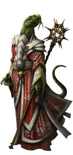 m Yuan-Ti Cleric Staff Fantasy Races, High Fantasy, Fantasy Warrior, Fantasy Rpg, Dnd Characters, Fantasy Characters, Fantasy Inspiration, Character Inspiration, Character Portraits