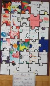 So cute!  Kids and teachers decorate a puzzle piece the first day.  We then meet on the carpet and talk about how we all fit in together and work as a team to learn and have fun.  The kids then put the puzzle together as a group and display it in the room.  Love IT!