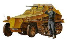 Sd.Kfz. 250/9, 24ª Panzerdivision, sustituyo al Sd.kfz. 222 como vehiculo de reconocimiento, especialmente en Rusia, debido a su mejor autonomia y mejor desempeño off-road. M. Onishi. Más en www.elgrancapitan.org/foro/
