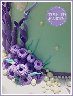 Time to Party's Birthday / - Photo Gallery at Catch My Party Little Mermaid Cakes, Mermaid Birthday Cakes, Mermaid Party Favors, Baby Shower Sweets, Ocean Cakes, Fondant Decorations, Fondant Tutorial, Fondant Toppers, Diy Cake