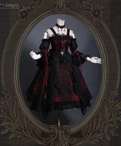 Lingxi -Odile- Embroidery Gothic Lolita Jumper Dress