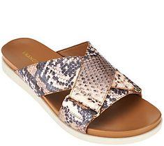 Franco Sarto Criss-cross Slide Sandals - Lure