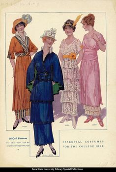 Day and party dresses, 1914, McCall's Magazine via oldrags
