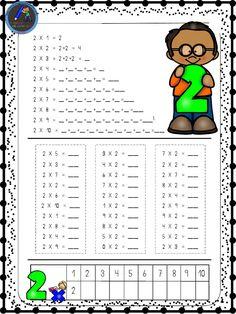 Hojas para repasar las tablas de multiplicar - Imagenes Educativas Teaching Multiplication, Teaching Math, Preschool Math, Preschool Worksheets, Math Exercises, Addition And Subtraction Worksheets, Primary Maths, Second Grade Math, Simple Math