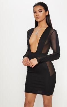 Black Mesh Insert Extreme Plunge Long Sleeve Blazer Dress