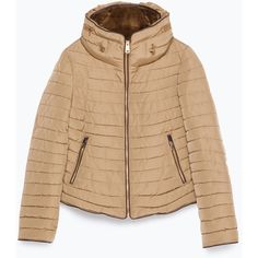 Zara Quilted Coat With Faux Fur Collar (1.643.150 IDR) ❤ liked on Polyvore featuring outerwear, coats, camel, beige coat, zara coat, quilted coat, faux fur collar coat and camel coat