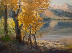 Twin Lakes Bridgeport Sierra Oil Painting - Autumn Cottonwoods, painting by artist Karen Winters