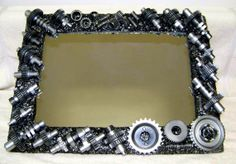 Mirror or picture frame cast from motorcycle gears by YawningDawg, $299.00